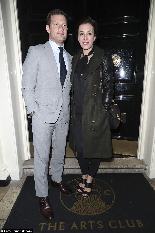 Loved-up: Dermot O'Leary attended Sharon's birthday celebrations alongside his wife Dee Koppang
