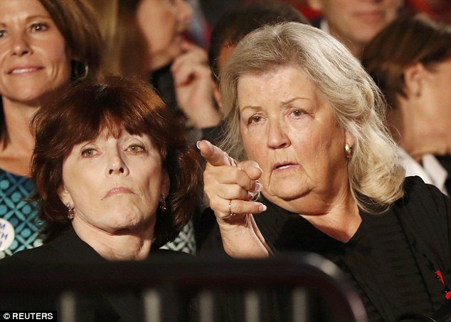 Kathleen Willey and Juanita Broaddrick (L-R) sit at the presidential town hall debate between Donald Trump and Hillary Clinton