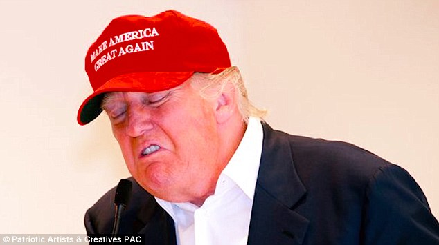 'Your hat strategically dipped below one eye': Images of Trump wearing campaign baseball caps appeared