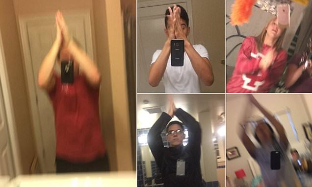 The stupidest selfie craze yet? Bizarre trend sees Twitter users throwing their PHONES in
