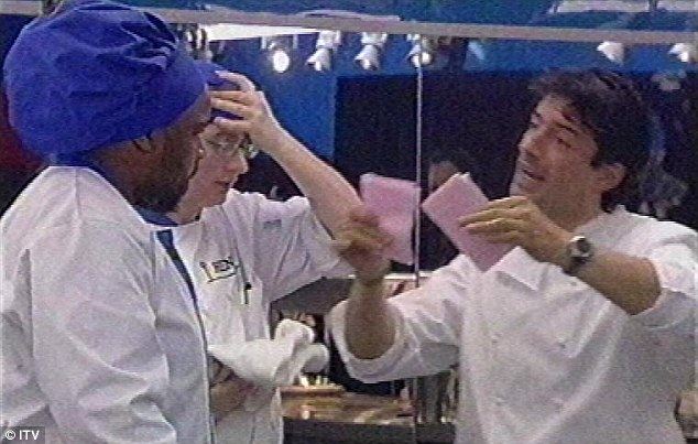 Raising hell in the kitchen: Jean-Christophe in an episode of ITV show Hell's Kitchen in 2005
