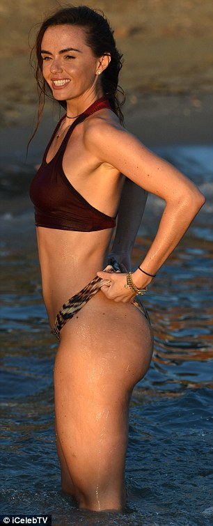 Bootylicious: Jennifer displayed her perky derriere while in the sea
