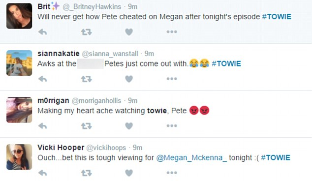 Devoted fans: Twitter users immediately showed their support for Megan, who was likely to be watching the loved-up scene air after the couple's messy split