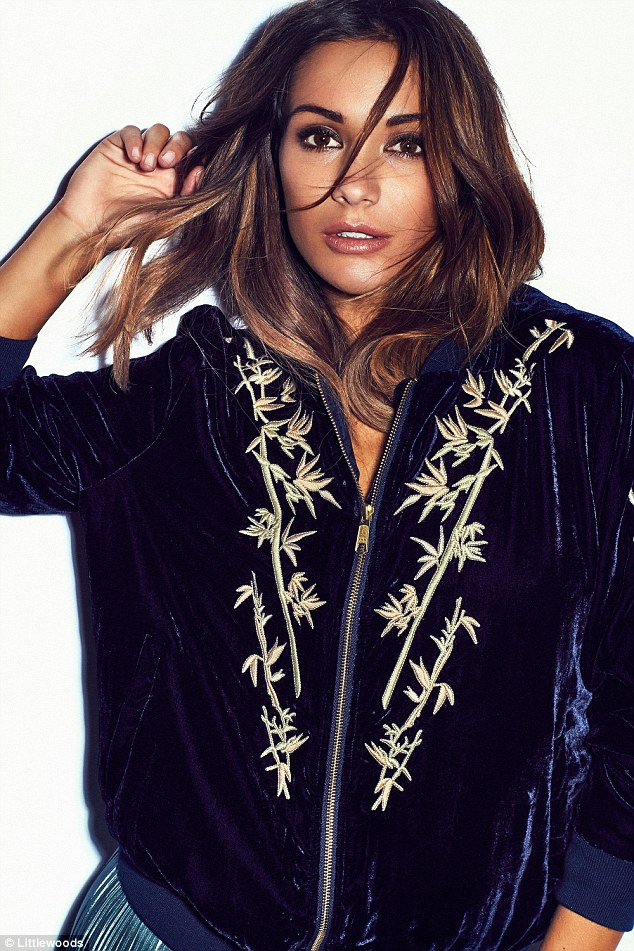 The star says the navy velvet bomber was one of her favourite pieces from the shoot. Frankie said she was delighted to be able to showcase 'affordable' styles in the new shoot