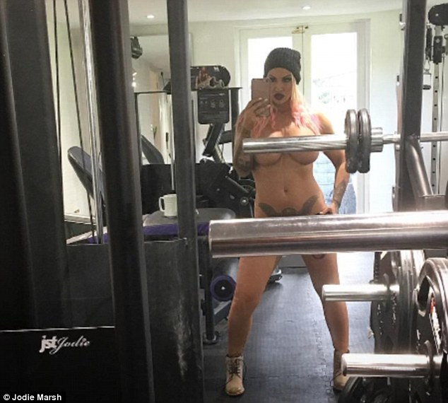 Working out... with everything out! Jodie Marsh, 37, stripped naked in her local gym on Sunday and documented the event on her Instagram