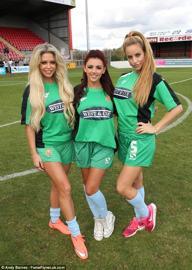 Glam trio: The busty blonde, 33, put on a leggy display with Bianca Gascoigne and Lydia Lucy