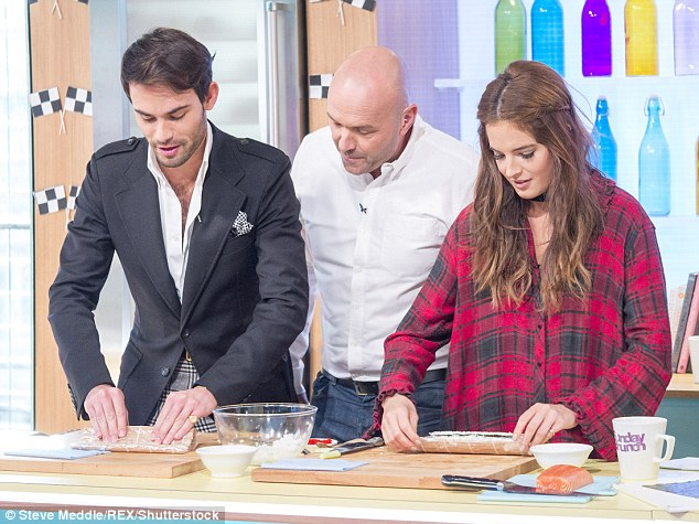 Cooking up a storm: The reality TV personality served-up some salmon sushi on the show