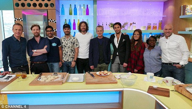 Line-up! Binky with her fellow guests and the show's hosts, Tim Lovejoy and Simon Rimmer