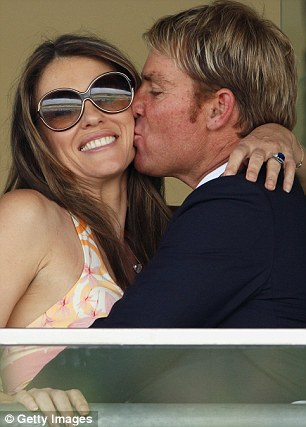 Still friends: Shane revealed that he still maintains healthy relationships with his ex-partners. which include Liz Hurley (pictured) and DJ Emily Scott, who he dated in 2014
