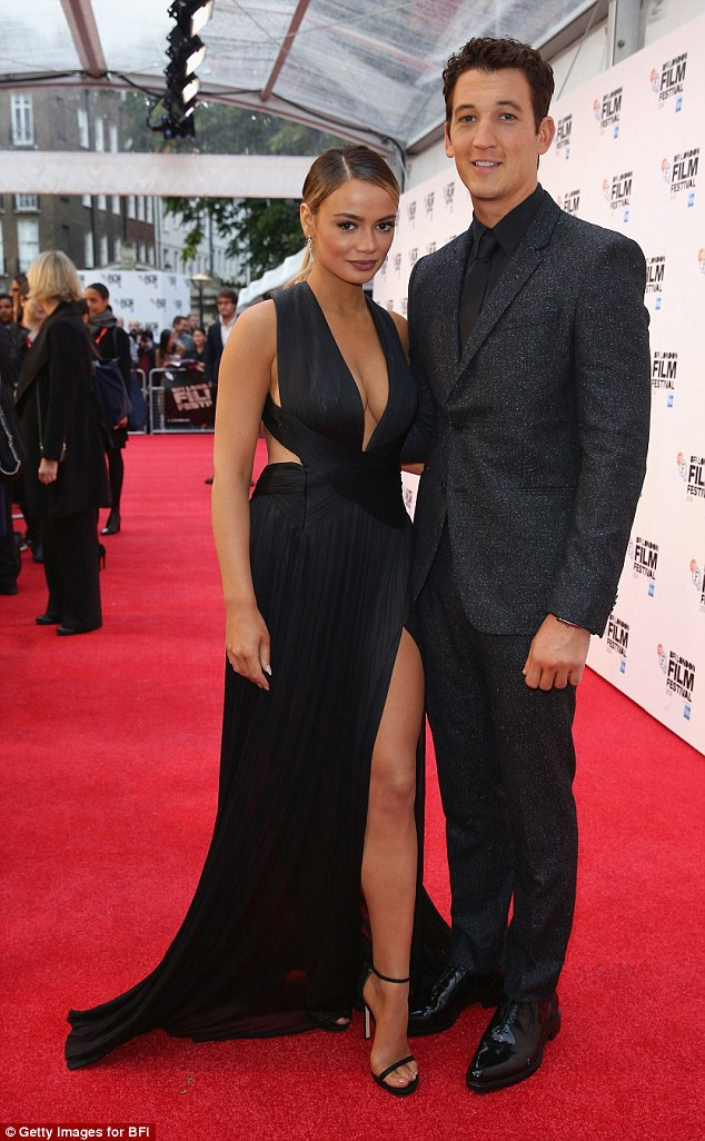 Glam couple:Miles Teller's gorgeous model girlfriend Keleigh Sperry stole all the attention at the BFI London Film Festival screening of the actor's new film Bleed For This on Sunday night