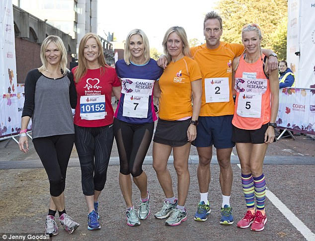Celebs go running! Celebrity runners taking part in the Royal Parks Half Marathon ( left to right) Jo Whiley, Sarah-Jane Mee, Jenni Falconer, Sophie Raworth, Ben Fogle and Nell McAndrew