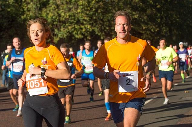 Run Ben, run! Ben Fogle gives it his all at the Royal Parks Foundation Half Marathon on Sunday