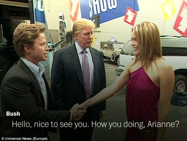 In a still taken from 2005 video. Donald Trump is seen meeting TV soap actress Arianne Zucker, accompanied by Access Hollywood host Billy Bush