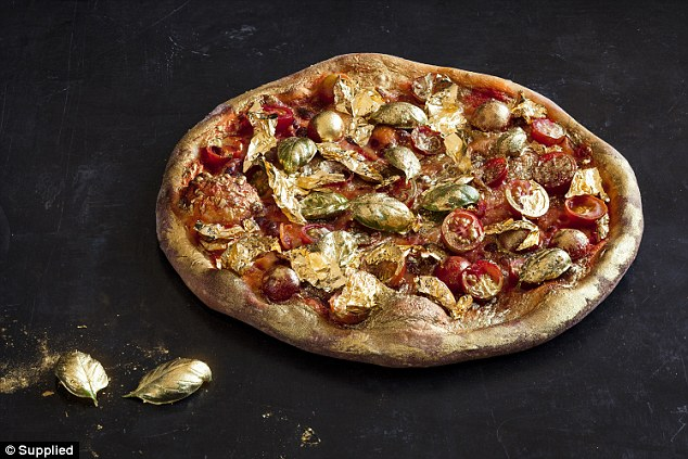 Luxurious: Pizza Design Co in Sydney has created a 'Golden Margherita' pizza (above)