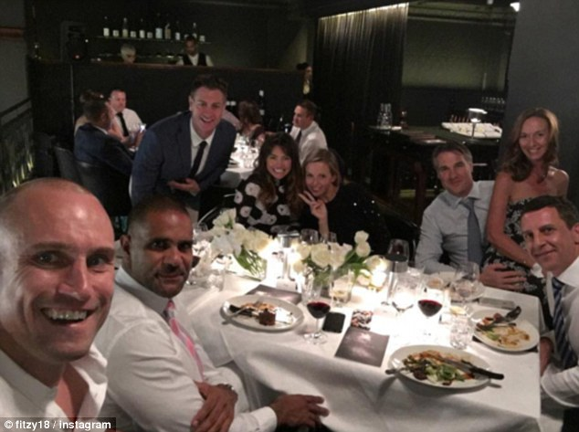 Jokes aside: While Wippa poked fun at his co-host's absence, Fitzy (pictured far left) was busy attending a friend's wedding with his wifeBelinda Irons