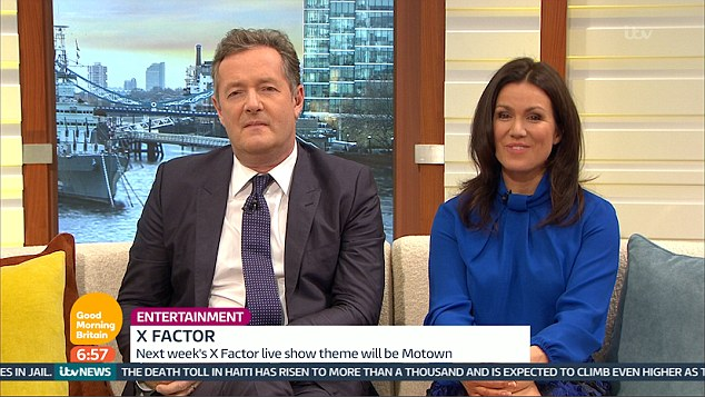 Unimpressed: Piers looked unimpressed as he attentively listened to Honey G