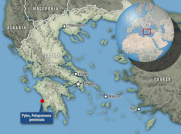 The tomb was found on the site of the Mycenaean-era Palace of Nestor on the country's Peloponnese peninsula (marked on this map)
