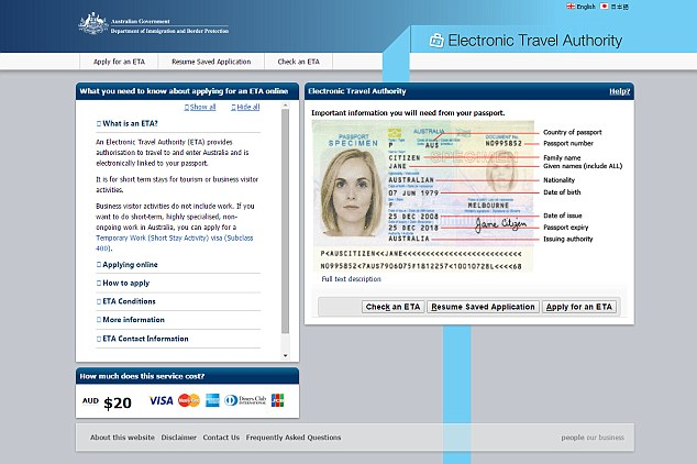 Official: The official Australian site where an electronic visa is priced at $20