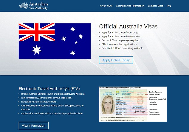 Copycat: The slick-looking trick website which is charging $35 (£20) for a visa