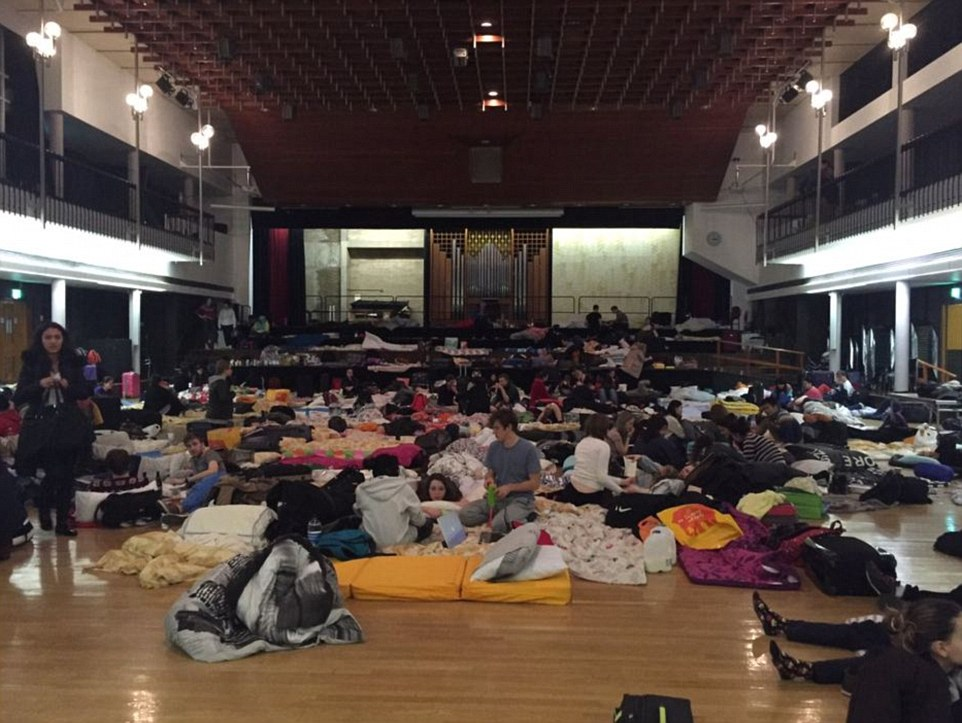 Twenty schools across Cumbria are closed today and Lancaster University has cancelled all classes until the New Year. Students were evacuated from their accommodation and instead spent the night in the university's Great Hall (pictured)