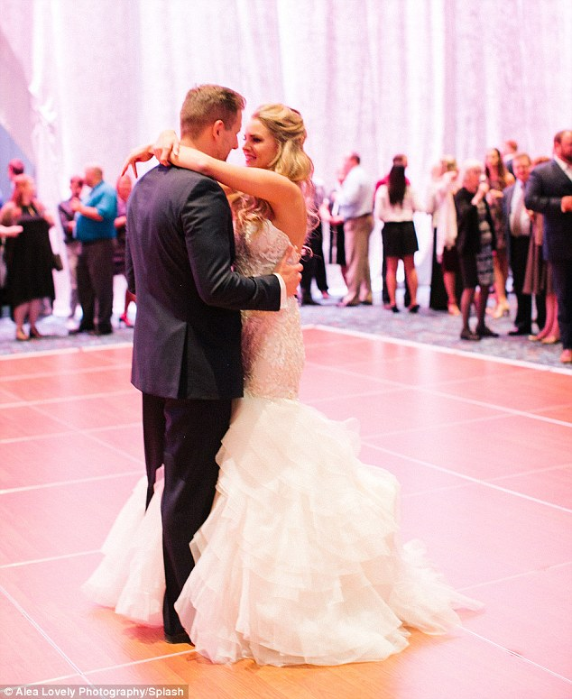 Look of love: Nikki and Tyler gazed into one another's eyes as they danced at their wedding reception