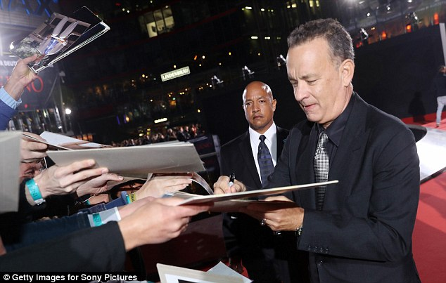 Celebrity status: The Hollywood star was happy to interact with fans who turned out in droves
