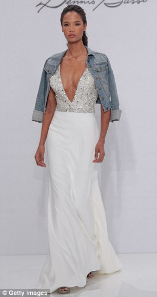 Cool mix: Blake Lively's unexpected pairing of a casual denim jacket with a formal beaded gown (left) was seen again at the Dennis Basso fall 17 bridal show this week (right)