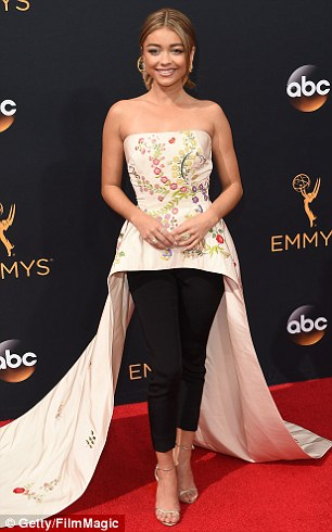 Fancy pants:Mark Zunino's embroidered strapless floor length top and dressy trousers (right) are the perfect bridal interpretation of Sarah Hyland's Emmy Awards look