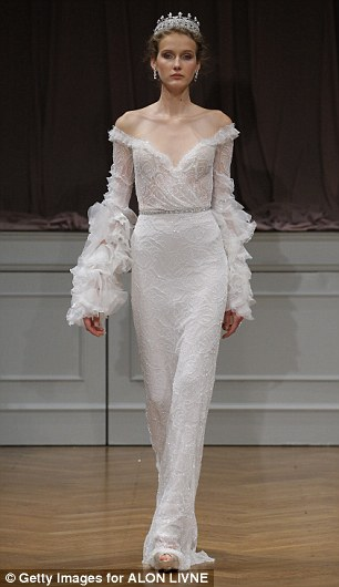 Fashion with flare: It looks like Alon Livne was royally inspired by Katy Perry's off-the-shoulder gown with exaggerated bell sleeves (left) when he designed this wedding gown (right)