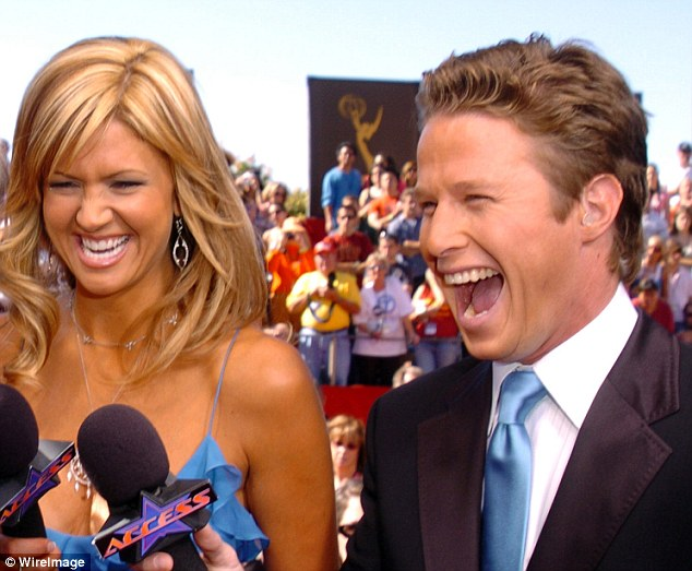Punishment: Billy Bush, O'Dell's former Access Hollywood co-host, was suspended from his new job at Today after the tape emerged (pictured together)