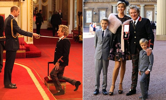 Rod Stewart wears quirky tartan trousers to receive Knighthood from Prince William as he