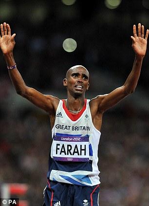 Great Britain's Mo Farah celebrates winning the Men's 10,000m final at the Olympic Stadium