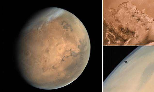 Stunning images of Mars beamed back from Indian space probe reveal the red planet in all