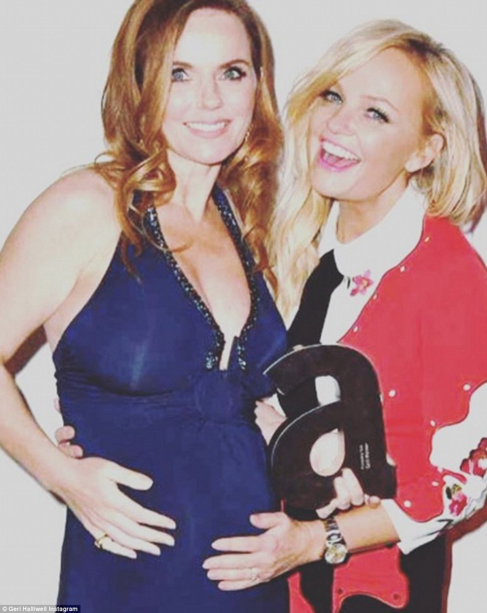 Excited: Emma looked equally excited about the pregnancy joy and Instagrammed one of the evening's pics saying: 'Congratulations to my gorgeous friend @therealgerihalliwell! Another #SpiceBaby on the way!'