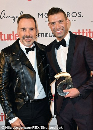 Suited and booted: John Tiffany, the Culture Award Winner, posed with Harry Judd (L), Amanda Barrie was presented with the Icon Award for Outstanding Achievement by Paul O'Grady (centre) and David Furnish handed Omar Sharif Jr the Inspiration Award (right)