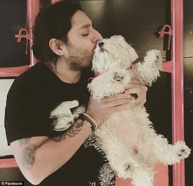 'Babbling': Chatwal (pictured with a third, unharmed dog in April) reportedly said the dogs had to 'die' because of their 'fleas,' and babbled about the 'CIA' and a 'compromised vehicle'