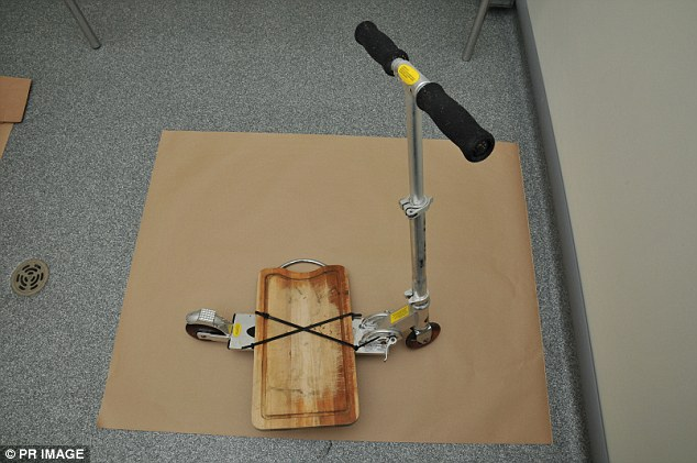 A Blade scooter that was cable tied to a Maxwell & Williams breadboard  linked to the death