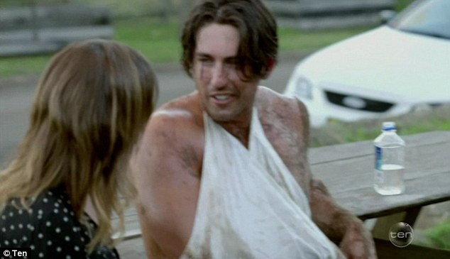 Under wraps: Rhys, who endured a three-hour stint in hospital before he was told that the injury was relatively minor, was forced to wear a cast throughout the remainder of the episode.