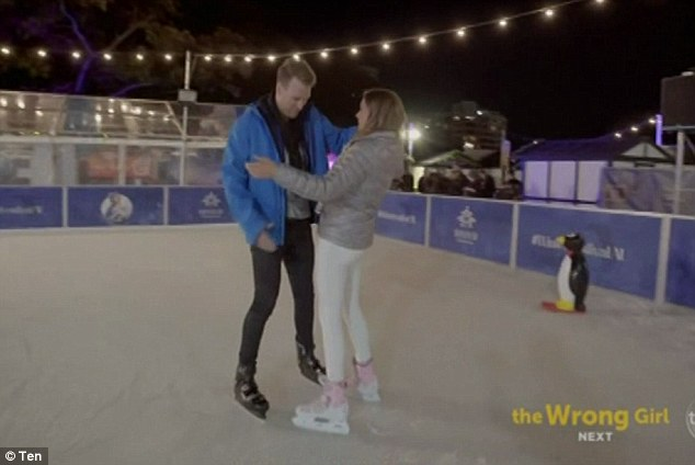 Romantic: During the single date, Georgia  took him to a New York designed diner where the pair shared a meal before heading over to an outdoor man-made ice ring