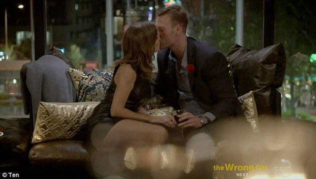 Kissing: The pair moved on to share a drink at a private bar together, where Georgia handed Clancy a red rose and his first passionate kiss