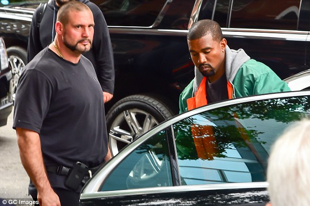 Trusty: The massive man was back in the states watching over Kanye after the October 2 robbery in Paris