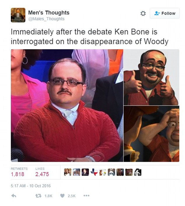 One viewer compared Bone to the Toy Story 2 character Al, a toy collector who wears a red shirt similar to Bone's sweater and sports a near-identical mustache