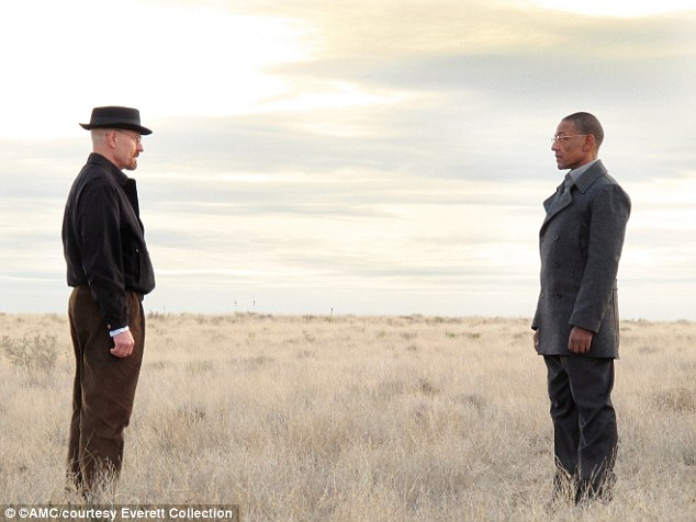 As Walt (pictured with in a scene with Giancarlo Espositoco) sank further into his alter ego, Heisenberg, wearing the black pork pie hat, the black jacket and black glasses, he became more desperate and ruthless