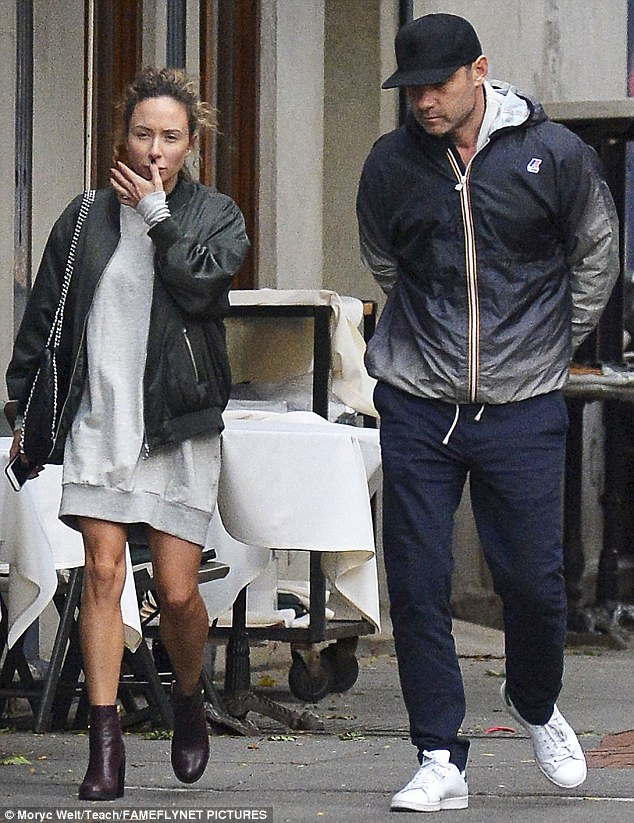 Dinner date: The 49-year-old actor grabbed a bite at Blue Ribbon Sushi in Soho and strolled alongside the beautiful brunette throughout the Big Apple