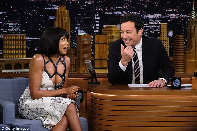 Eyes up Jimmy: Fallon seemed entranced by the mother of one as she chatted about her book