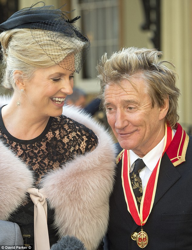Big day: Rod looked delighted as he reflected on his meeting with the Prince shortly after receiving his Knighthood