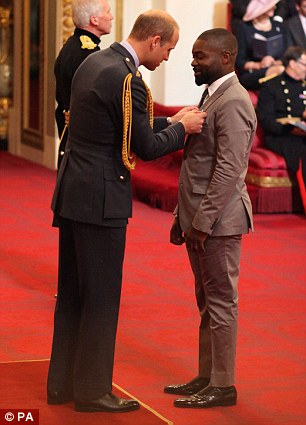 Top honour:Elsewhere British actor David Oyelowo was given an OBE for his services to drama
