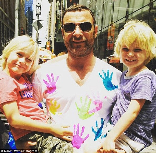 On good terms: The actress wished him a happy 49th birthday on Tuesday with a heartwarming Instagram snapshot of him cradling their two boys