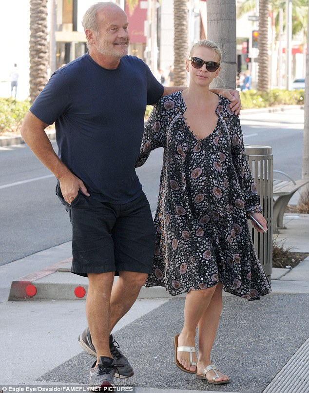 Daddy cool: Kelsey Grammer was in high spirits as he went shopping with pregnant wife Kayte in Beverly Hills on Monday