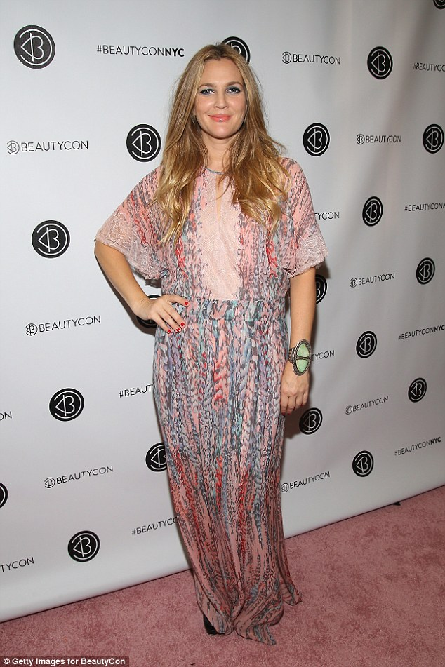 Heavenly:The Flower Beauty founder - who relies on stylist Lee Harris - dressed her curvaceous 5ft4in figure in a pink-patterned BCBG Max Azria kaftan featuring lace trim